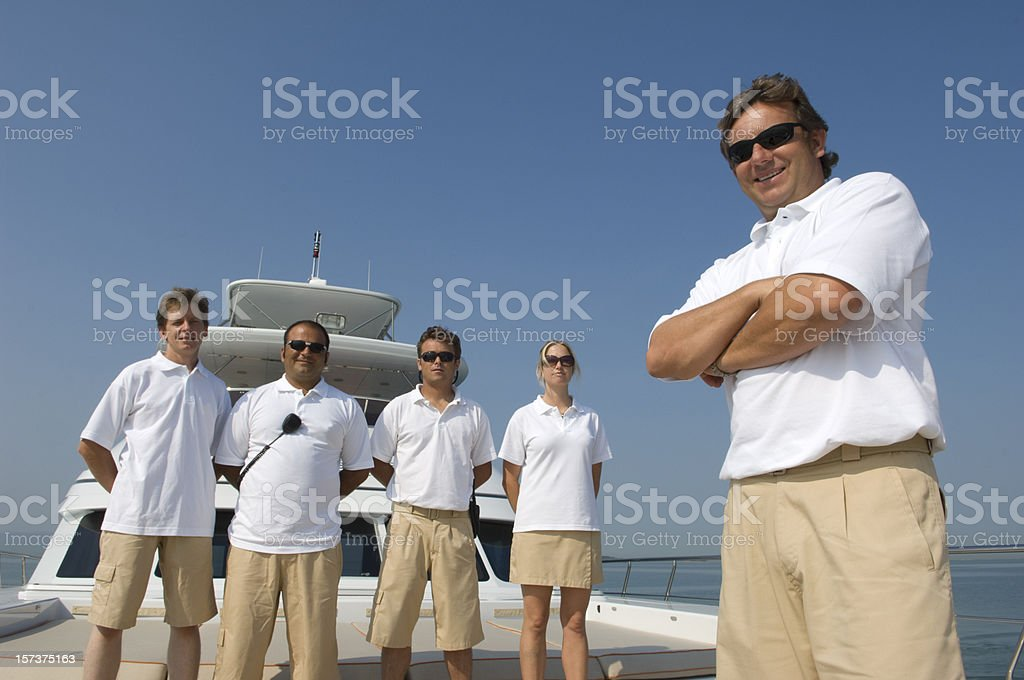crew of a yacht royalty-free stock photo