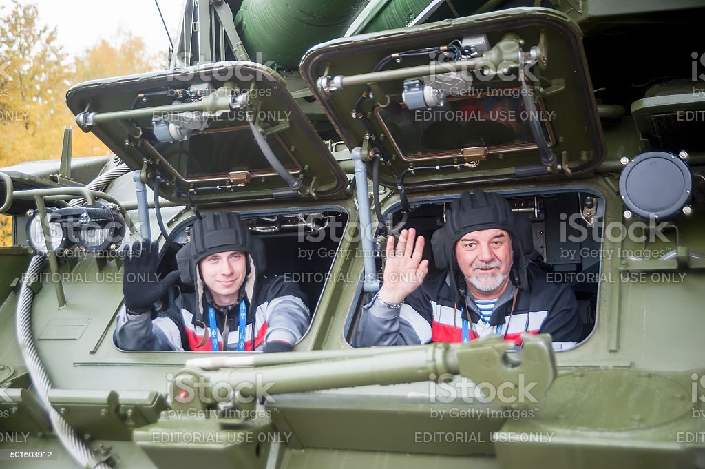 Crew of Bouck M2E surface-to-air missile systems stock photo