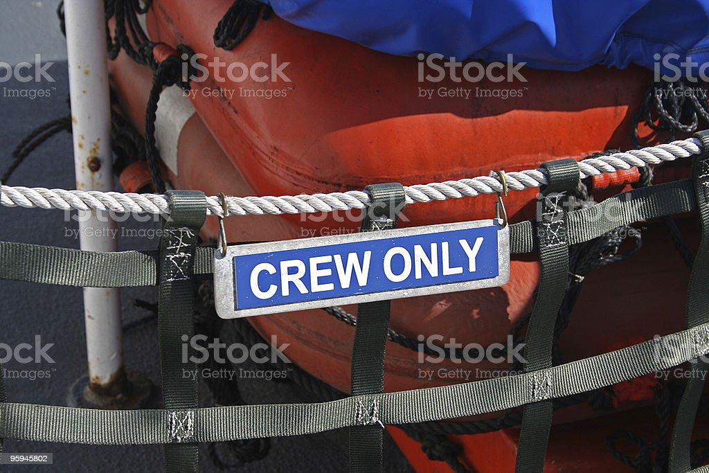 'Crew Only' Sign on a Ferry Boat royalty-free stock photo