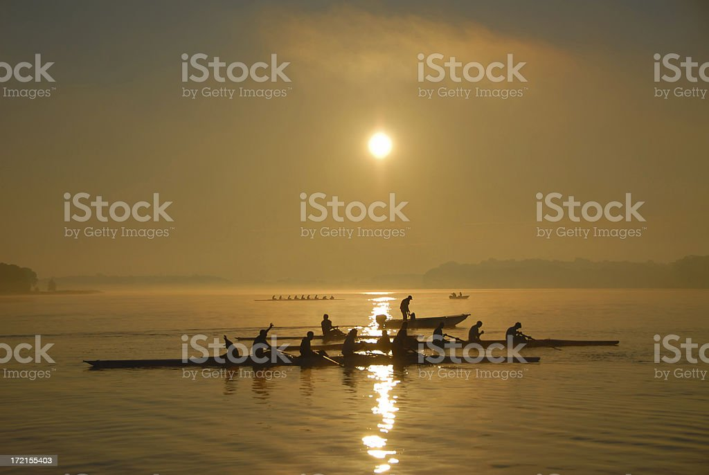 Crew Practice at dawn stock photo