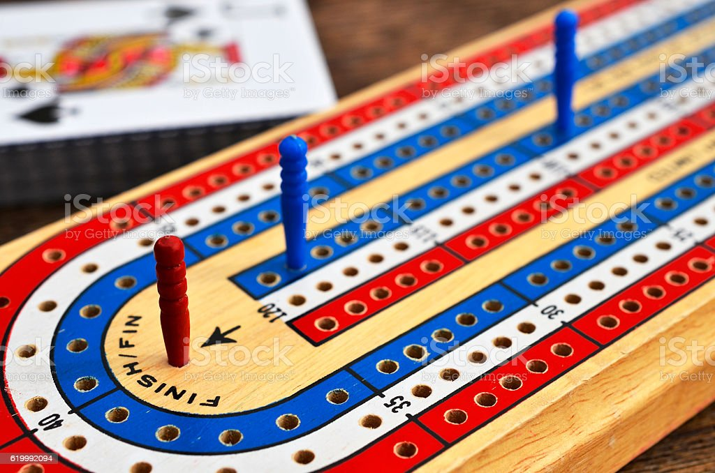 Cribbage Board Close Up stock photo