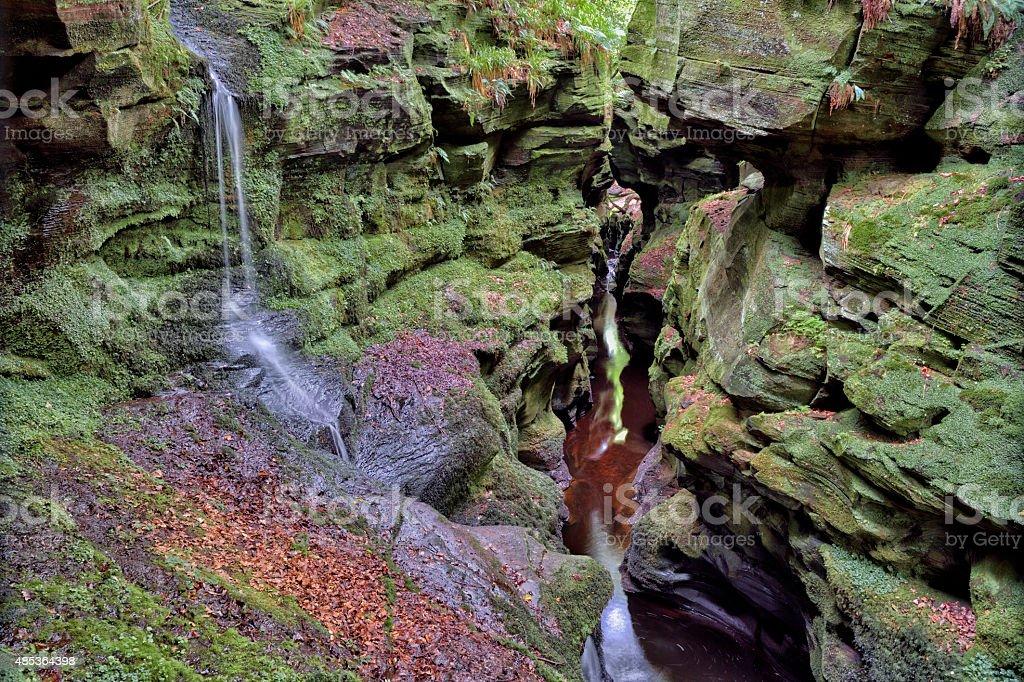 Crichope Linn, a sandstone gorge near Thornhill, south west Scotland stock photo