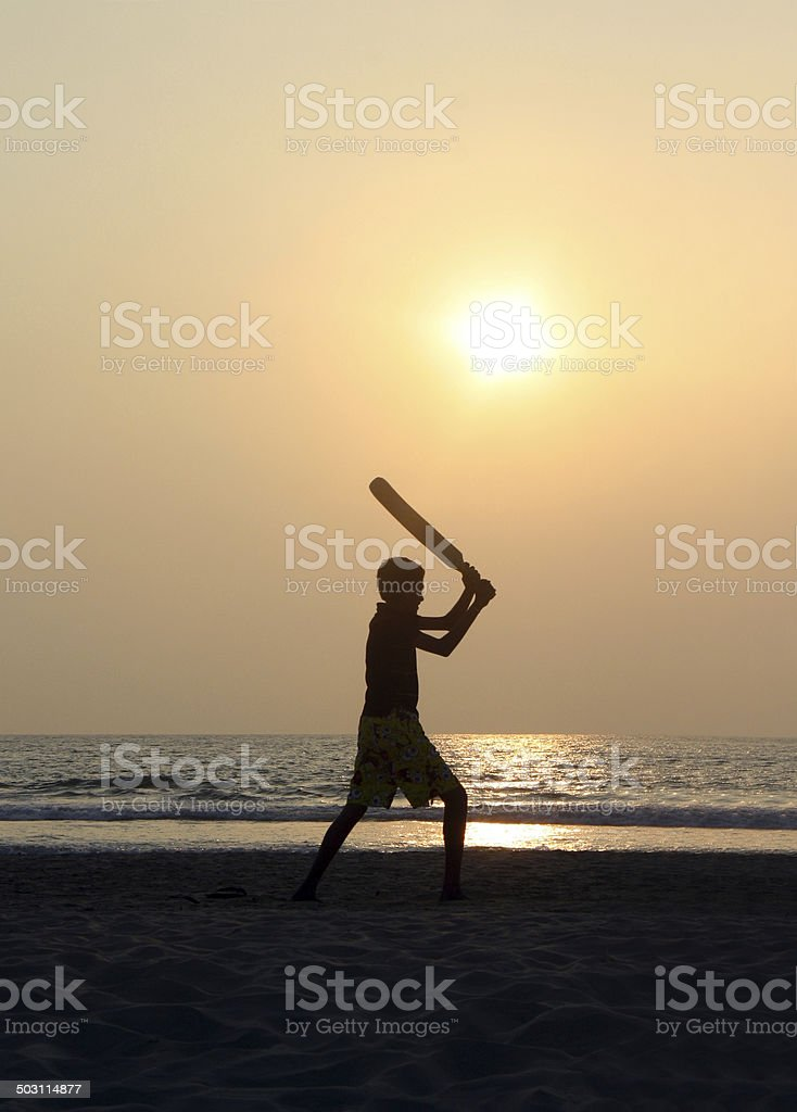 Cricket am Strand stock photo