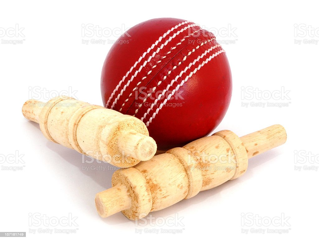Cricket Ball and bails stock photo