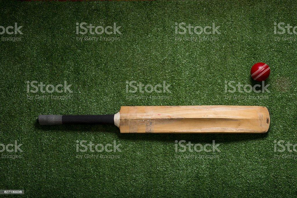 Cricket ball and bat stock photo