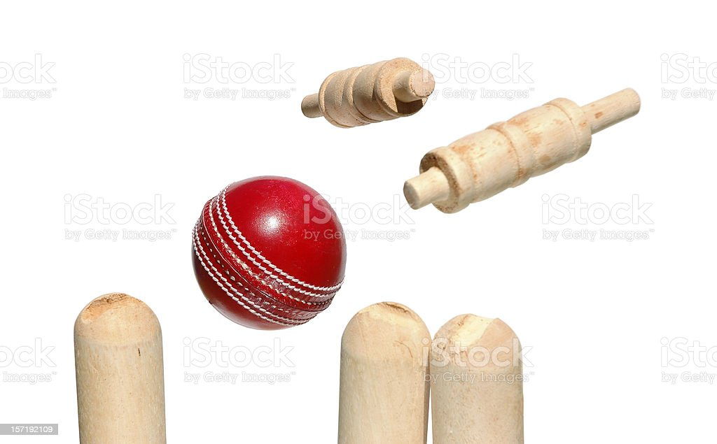 Cricket Ball, Bails and stumps stock photo