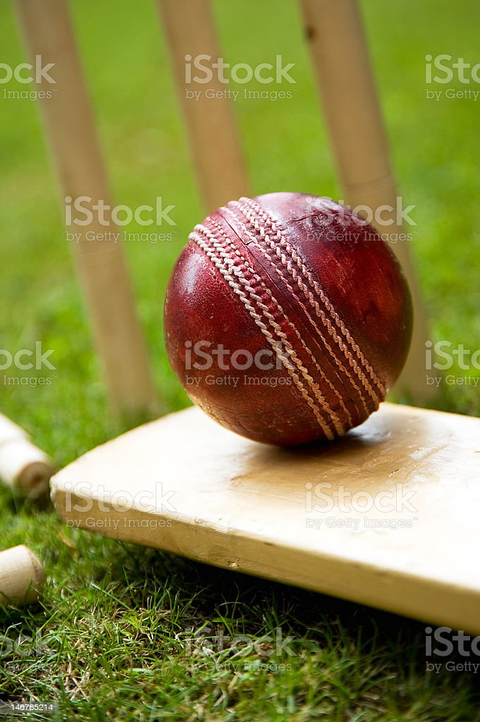 Cricket ball bat & stumps stock photo