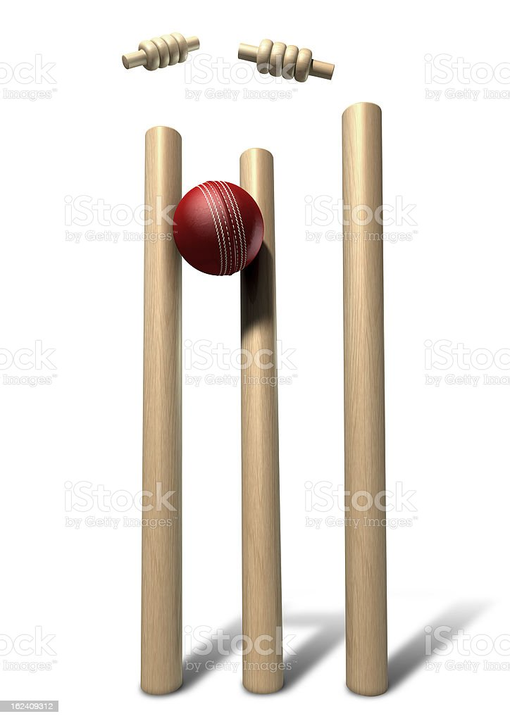 Cricket Ball Hitting Wickets Front Isolated royalty-free stock photo