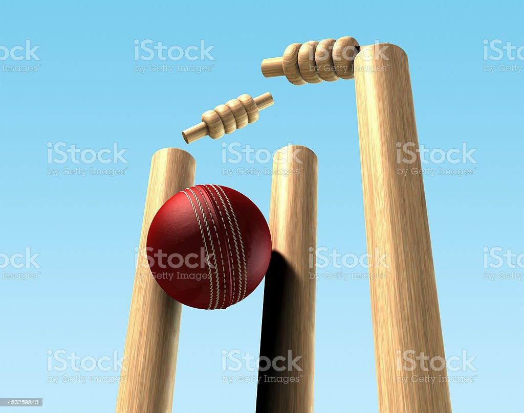 Cricket Ball Hitting Wickets stock photo