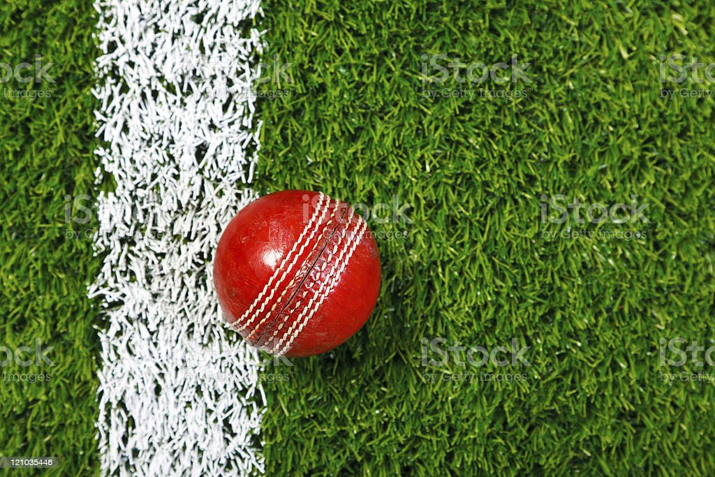 Cricket ball on grass from above. stock photo