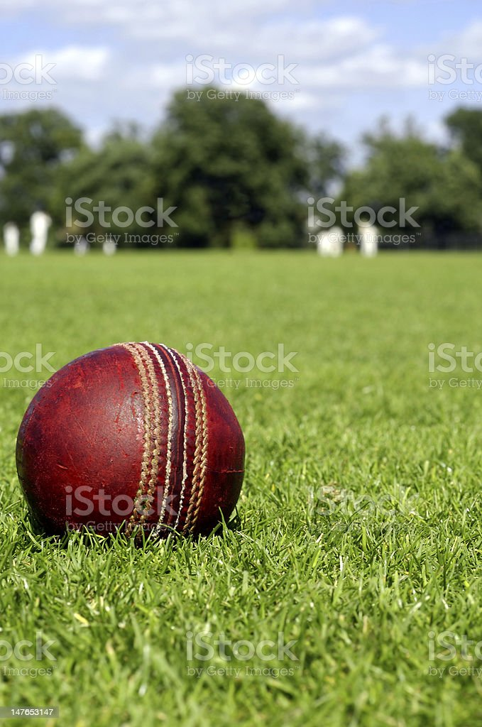 Cricket Ball & Players stock photo