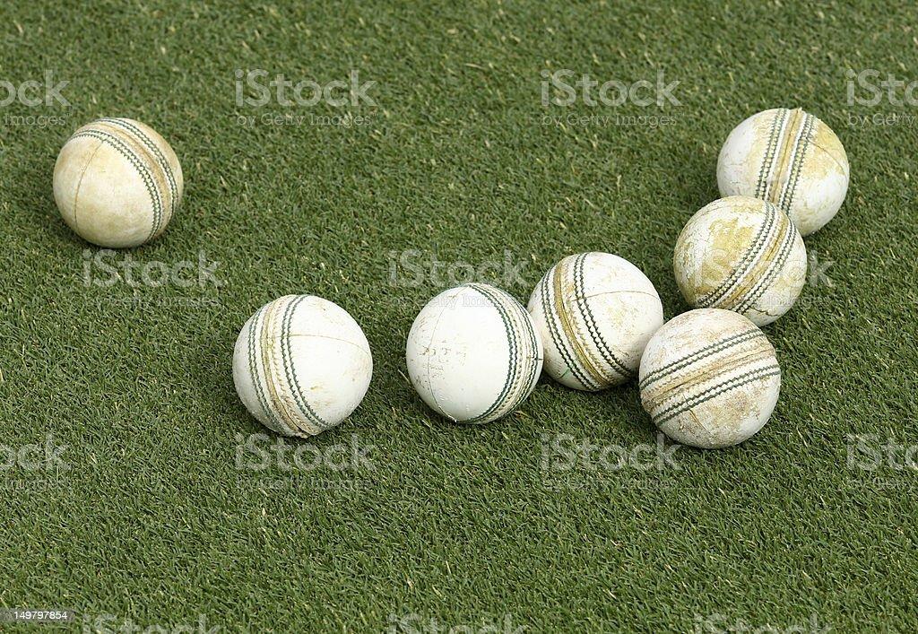 Cricket Balls on Grass stock photo