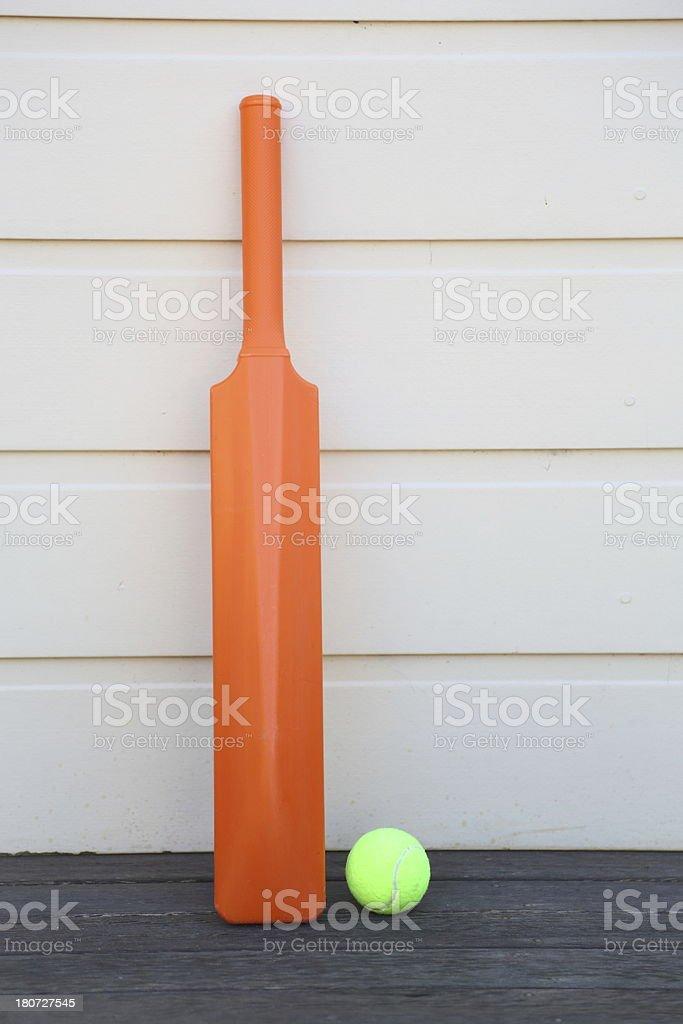 Cricket bat and ball stock photo