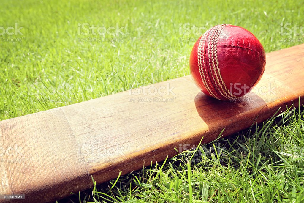Cricket bat and ball stock photo