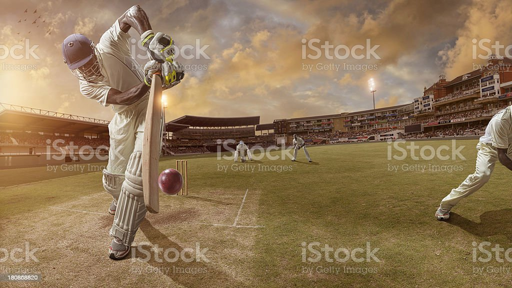 Cricket Batsman About to Strike Ball stock photo