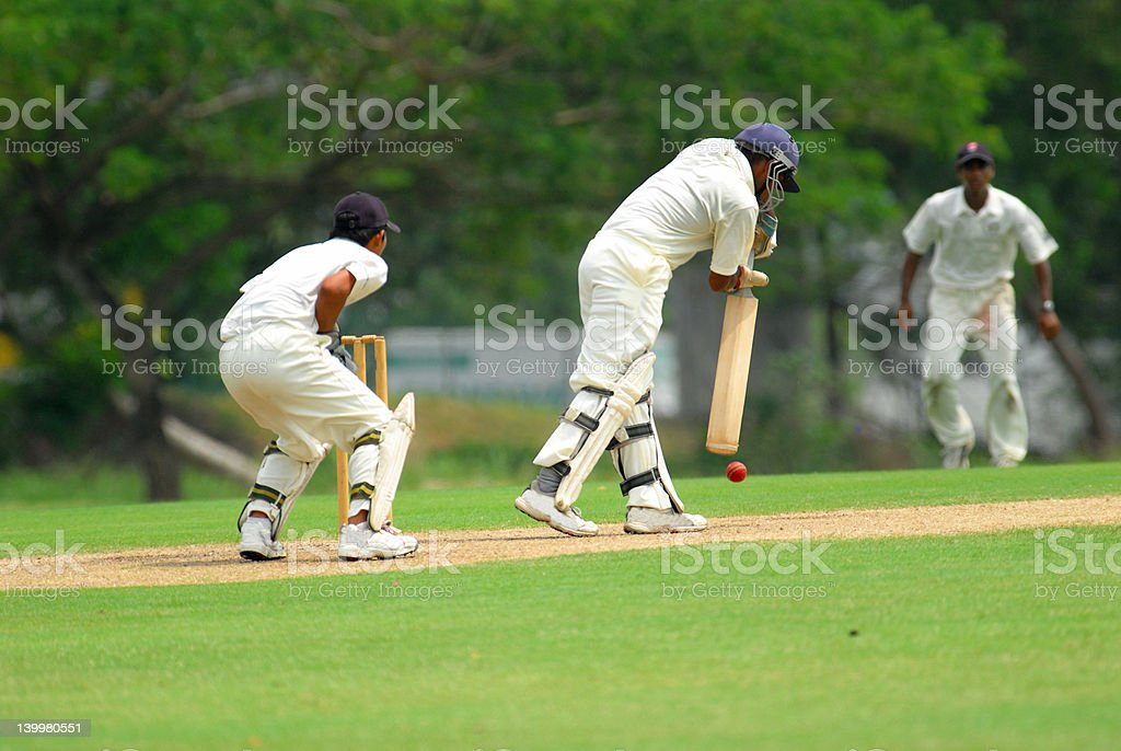 cricket batsman and a catcher stock photo