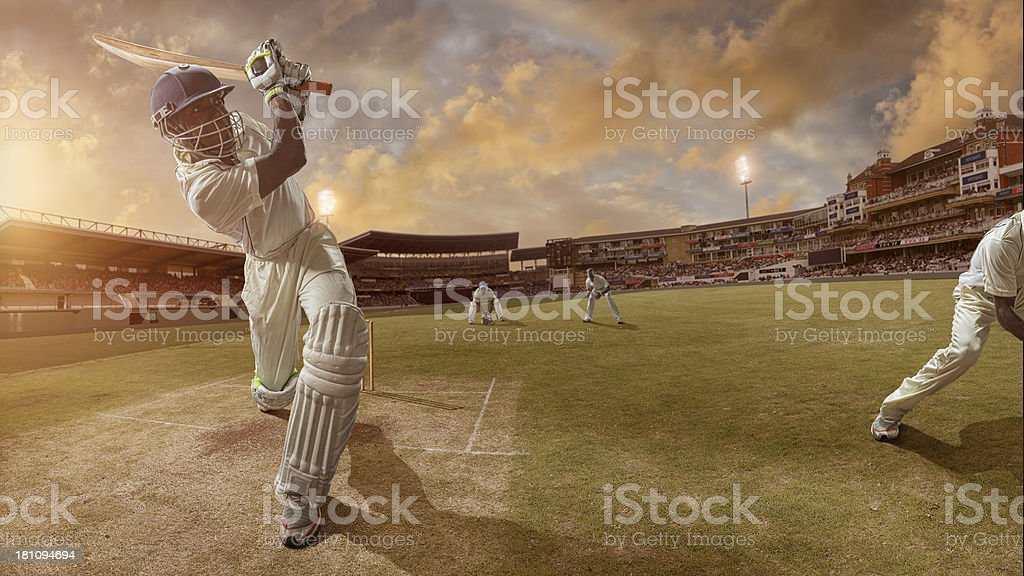 Cricket Batsman Hits A Six stock photo