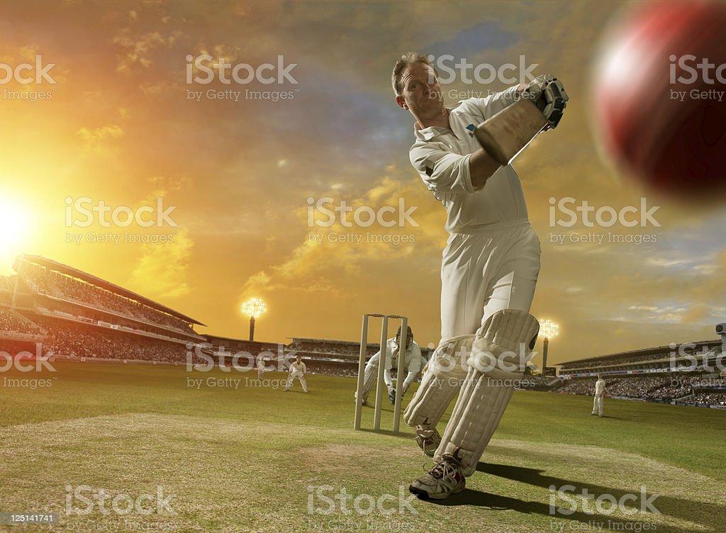 Cricket Batsman in Action stock photo