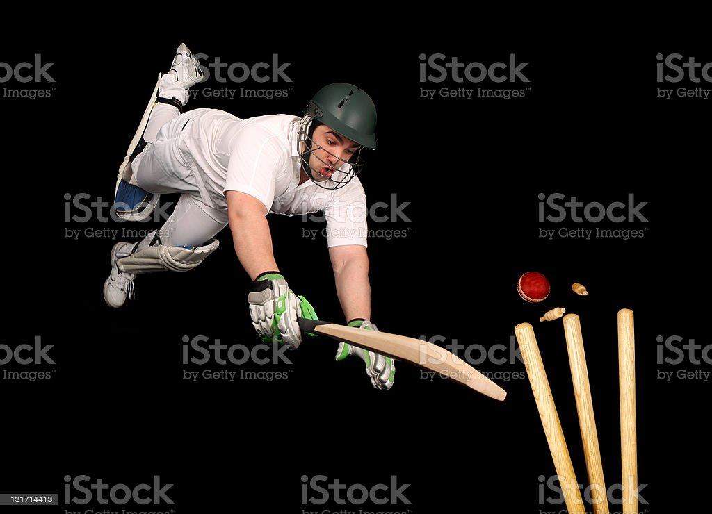 Cricket Batsman Is Run Out stock photo