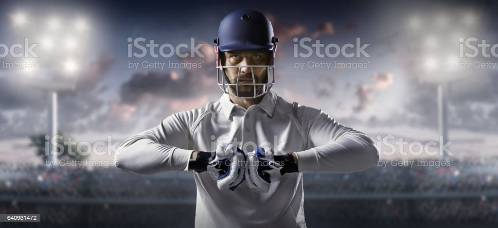 Cricket: Batsman on the stadium stock photo