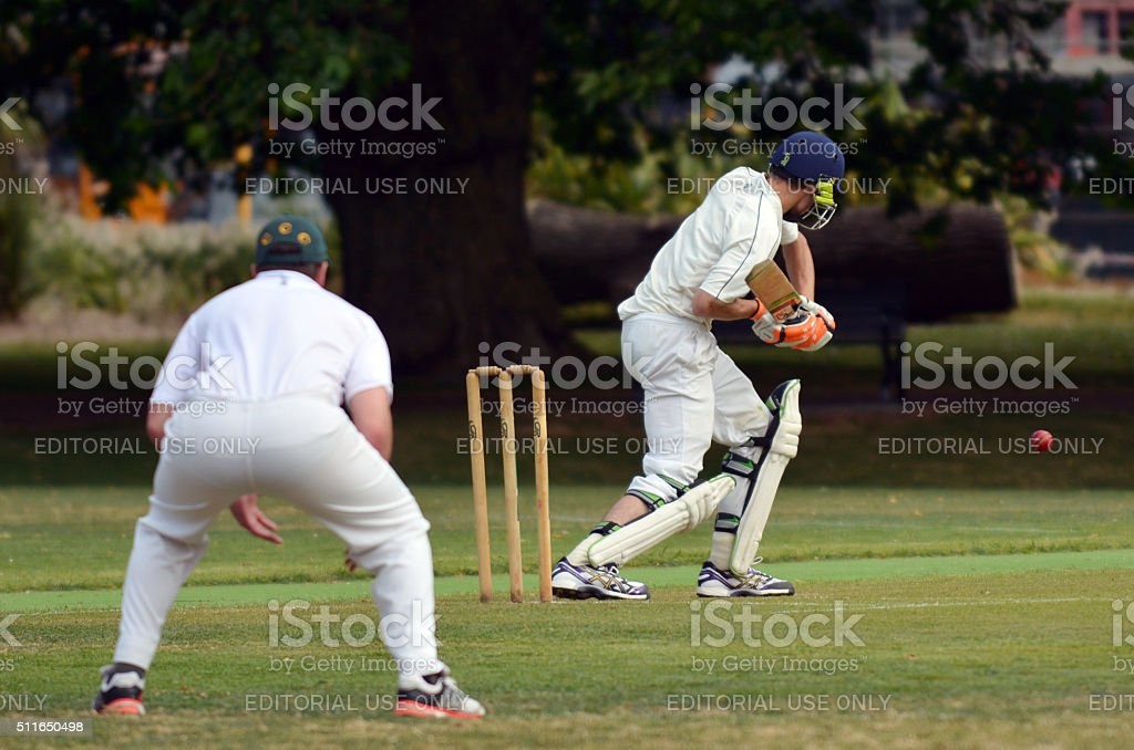 Cricket batsman try to blocks the ball stock photo