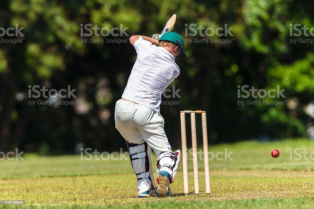 Cricket Batting Action High Schools stock photo