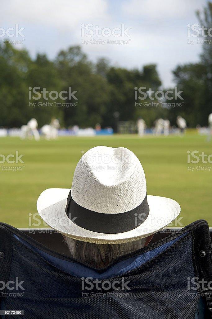 Cricket fan in sun hat stock photo
