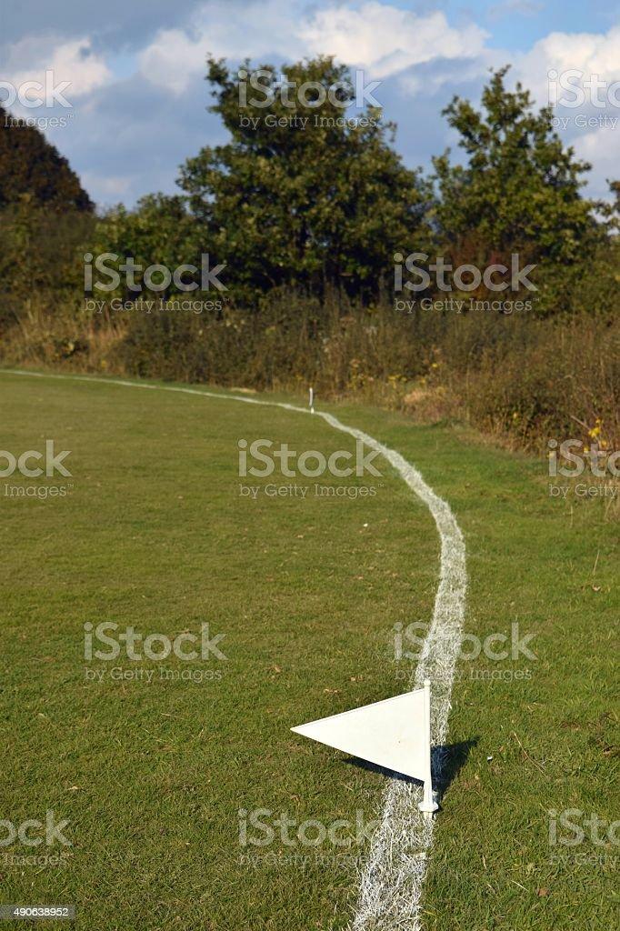 Cricket field boundary line stock photo
