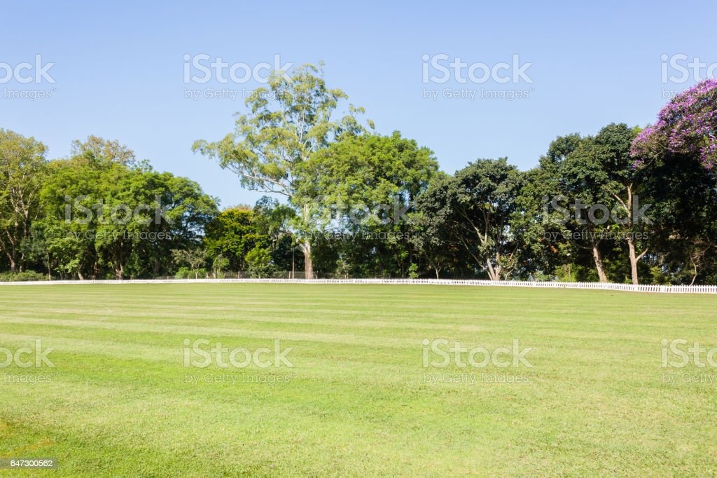 Cricket Field Outfield Boundary Fence stock photo