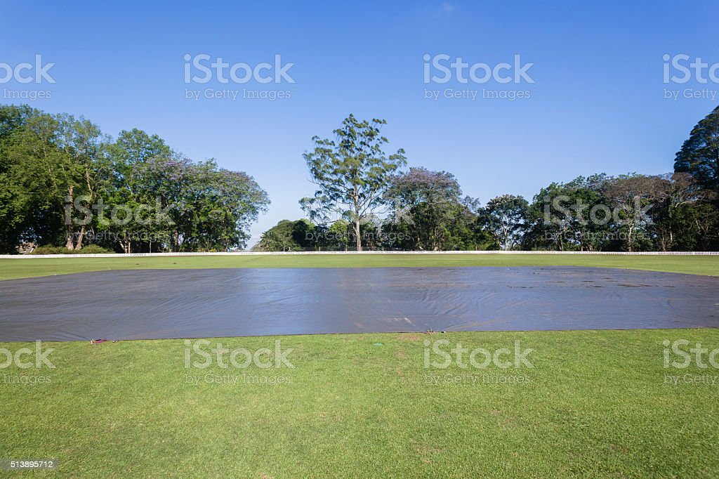 Cricket Field Pitch Covers stock photo