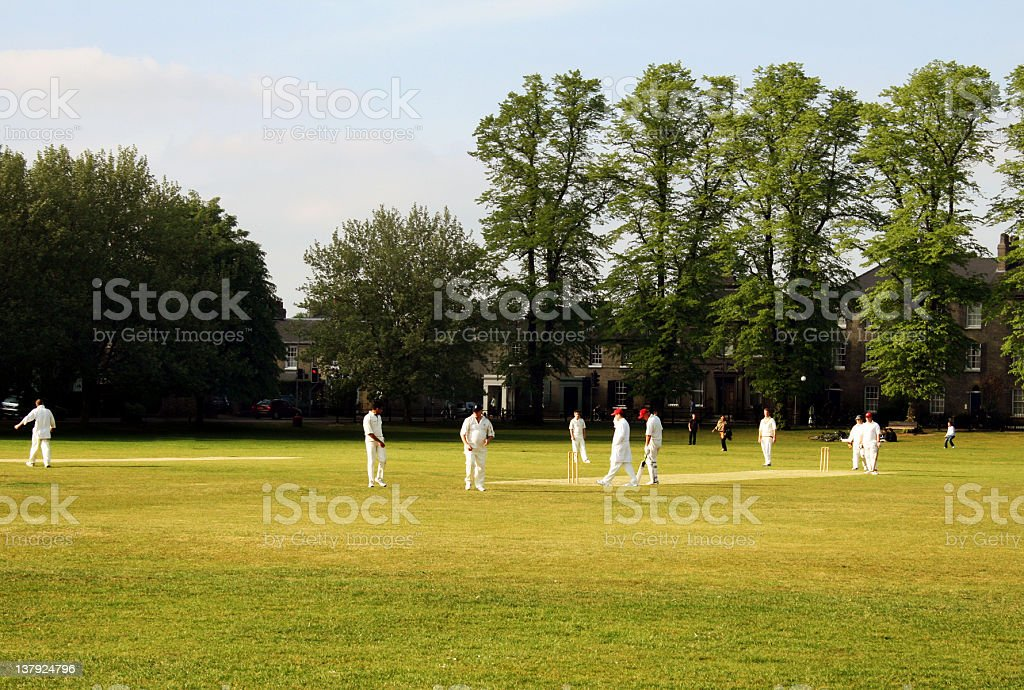 Cricket game stock photo