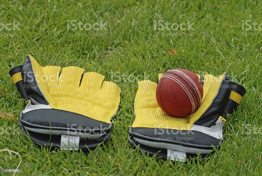 Cricket gloves and a ball stock photo