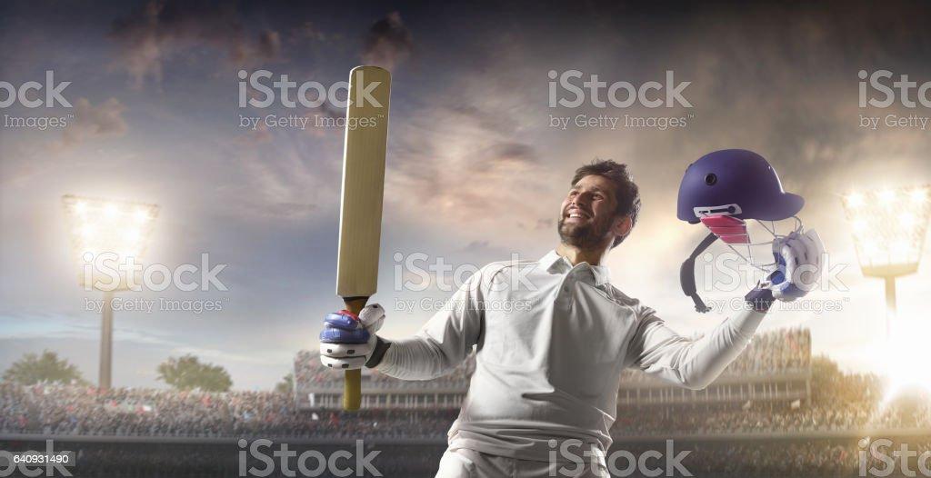 Cricket: Happy batsman on the stadium stock photo