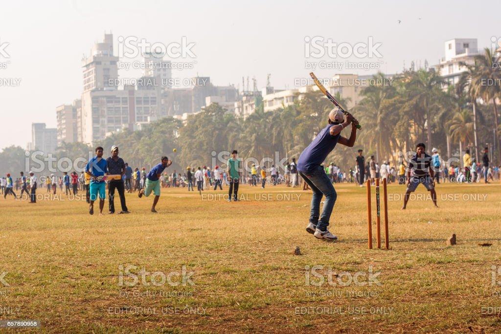 Cricket match at local ground of Mumbai, India stock photo