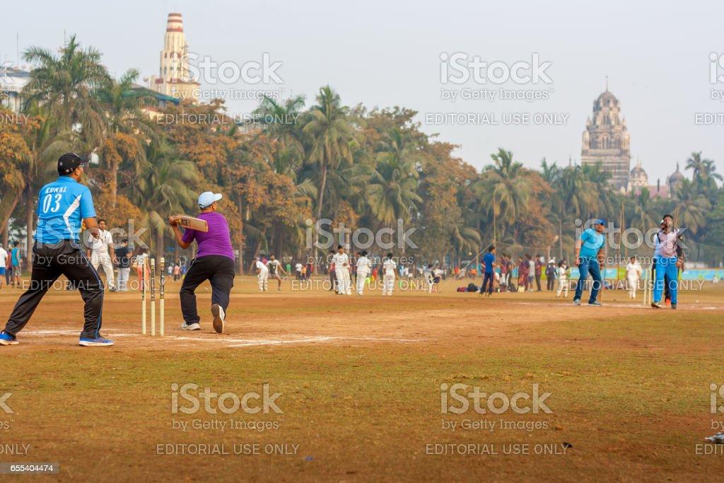 Cricket match between local Mumbai Teams stock photo
