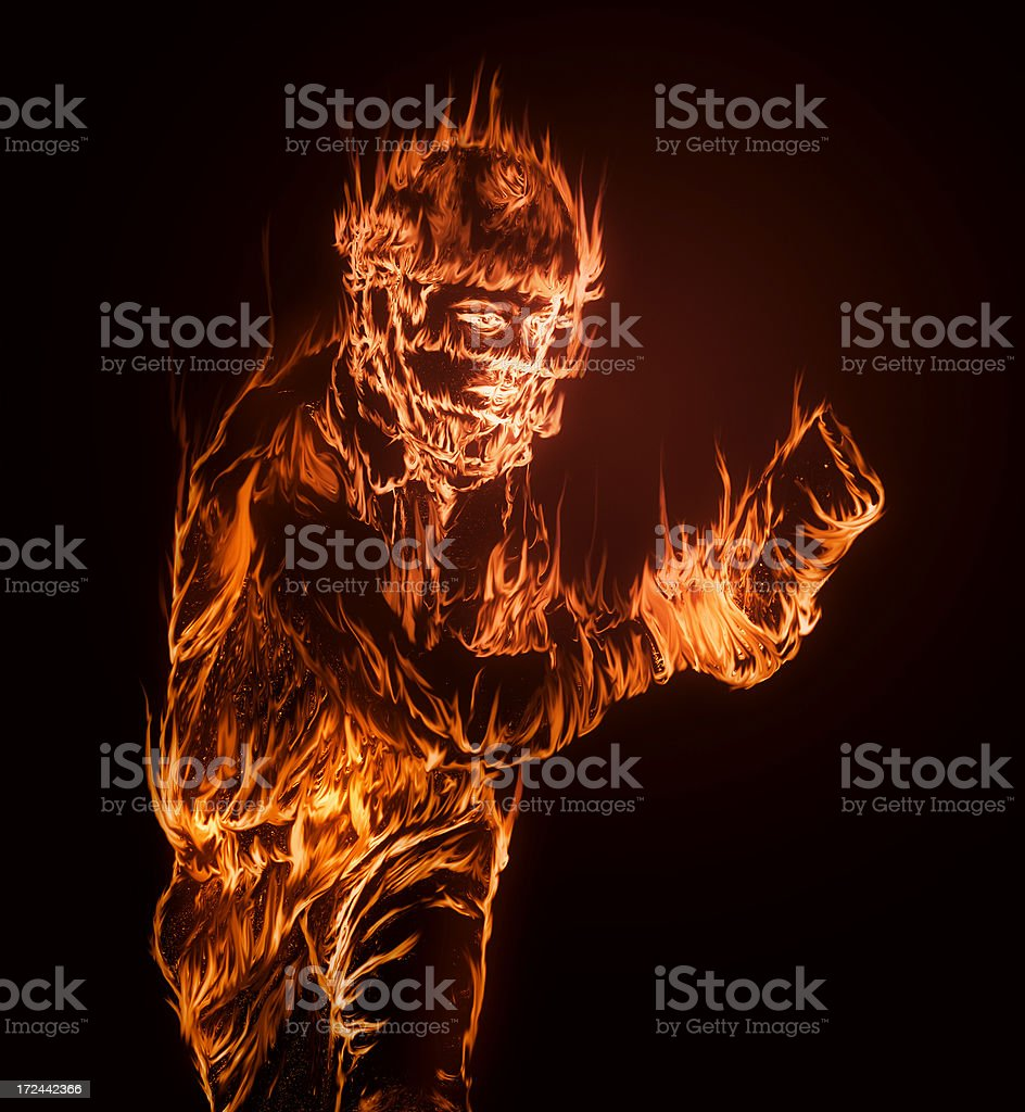 Cricket on fire stock photo