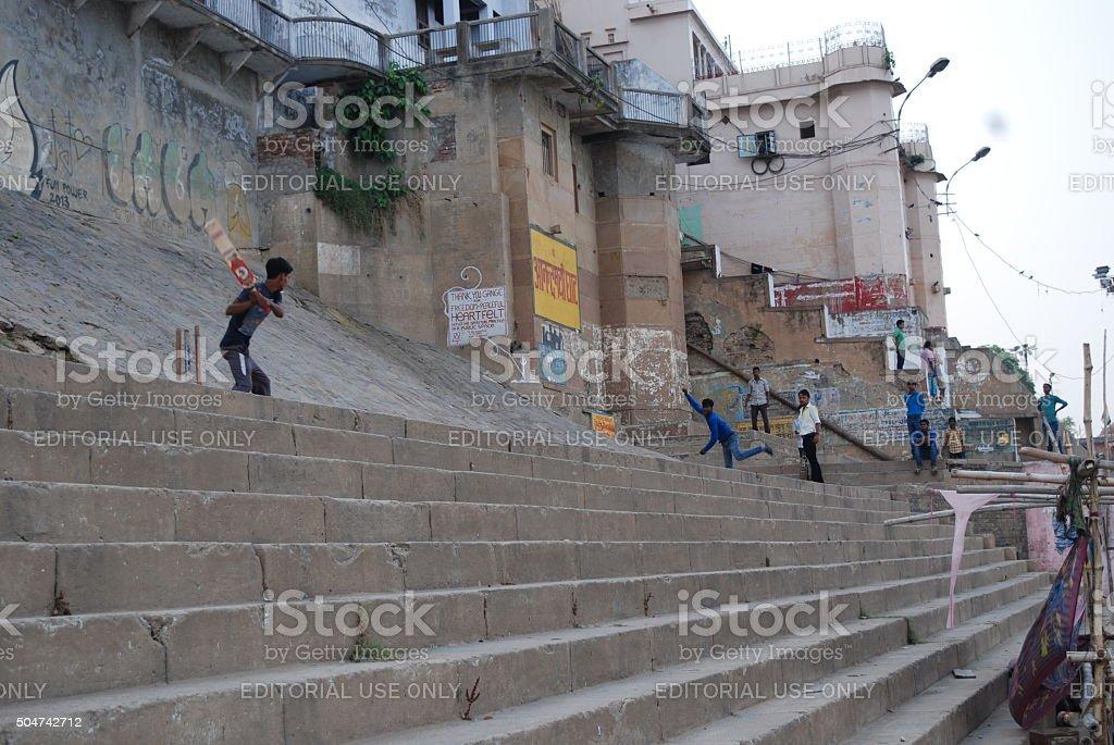 Cricket on Ghats of Varanasi stock photo