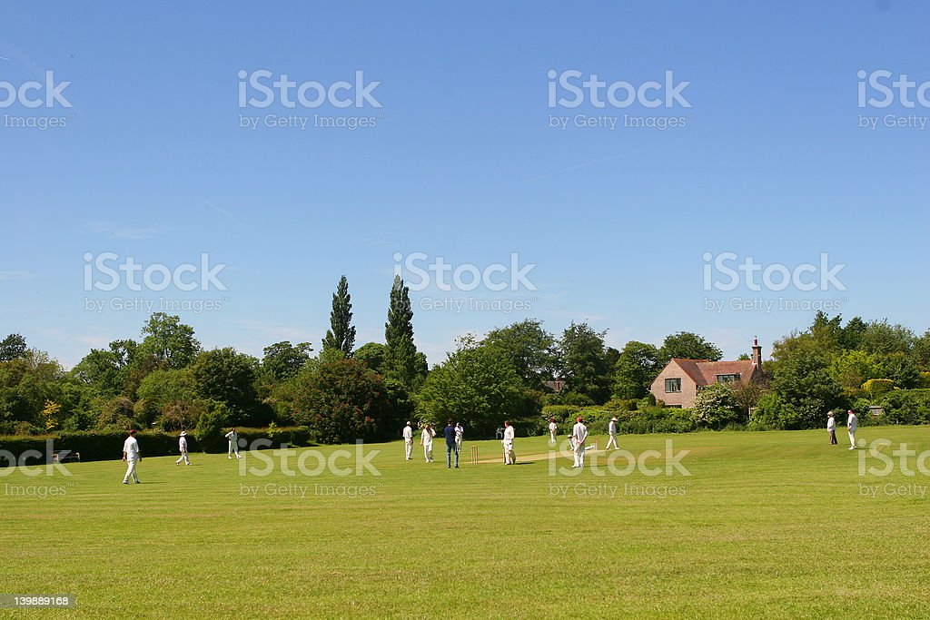 Cricket on The Village Green (with space for text) royalty-free stock photo