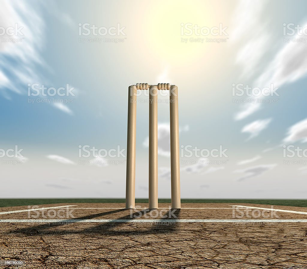Cricket Pitch And Wickets Front stock photo