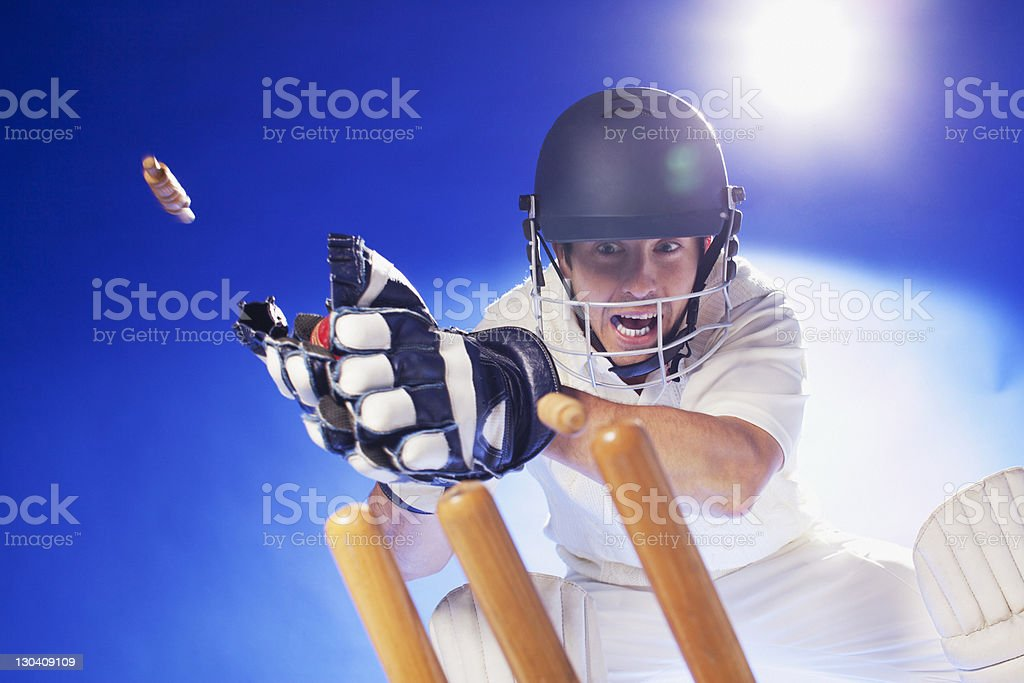 Cricket player lunging for bats stock photo