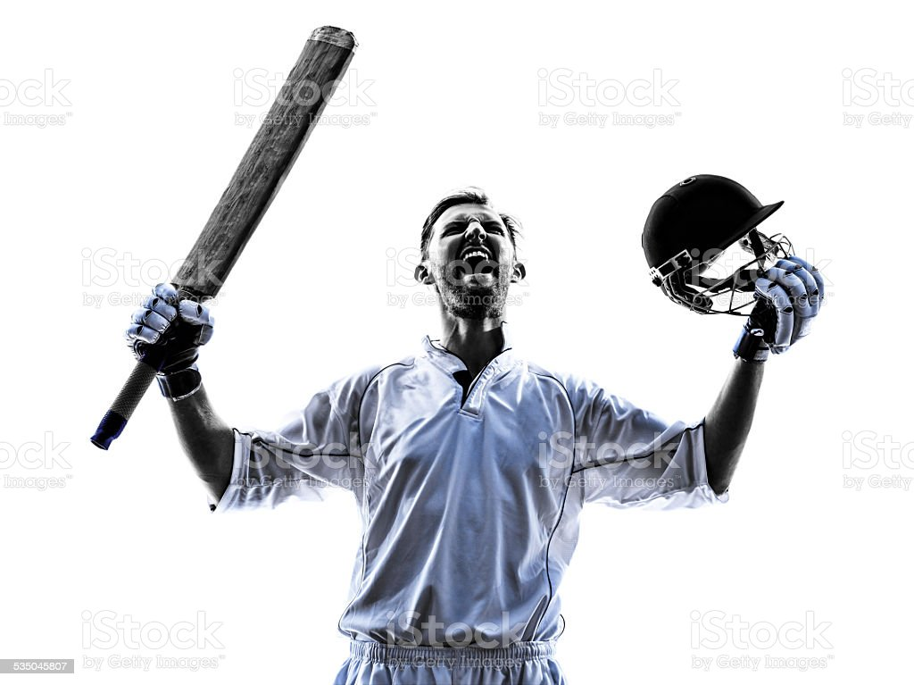 Cricket player  portrait silhouette stock photo