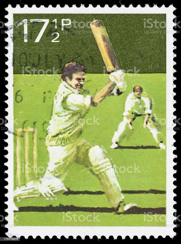 UK cricket postage stamp royalty-free stock photo