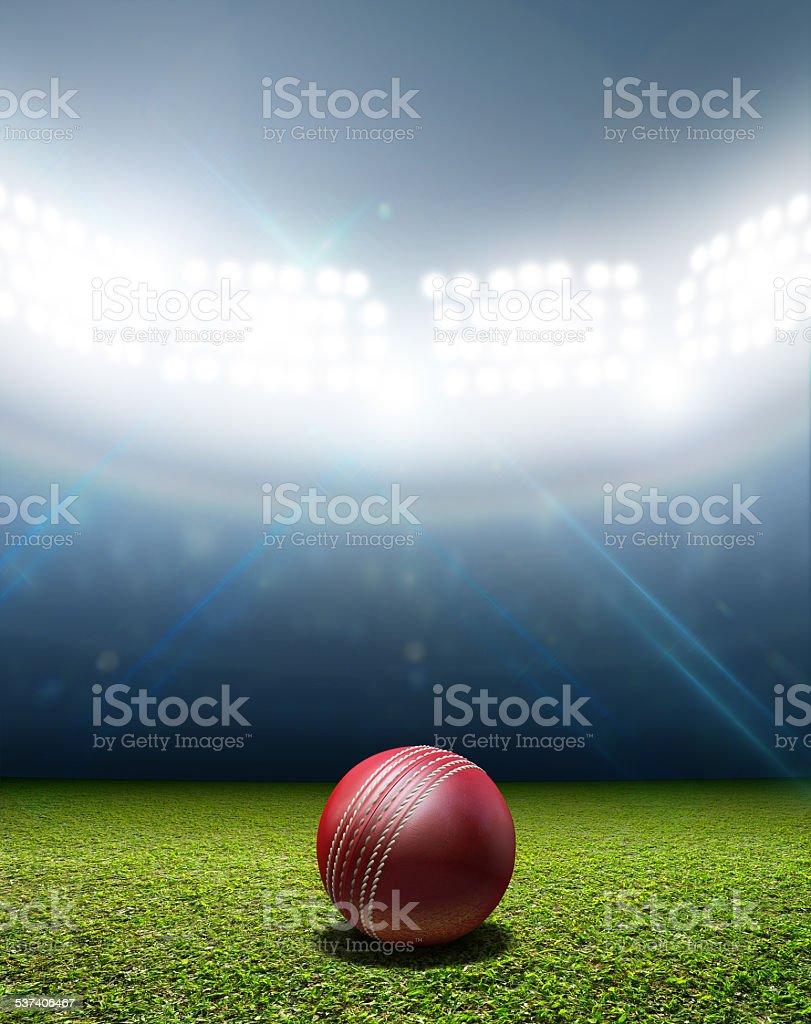 Cricket Stadium And Ball stock photo
