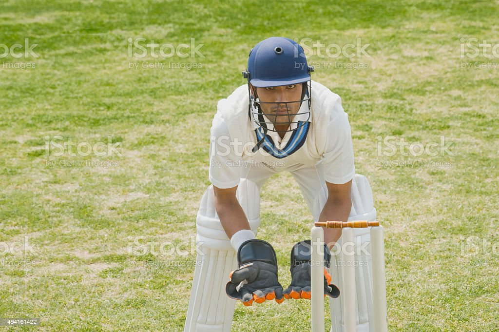 Cricket wicketkeeper behind stumps stock photo