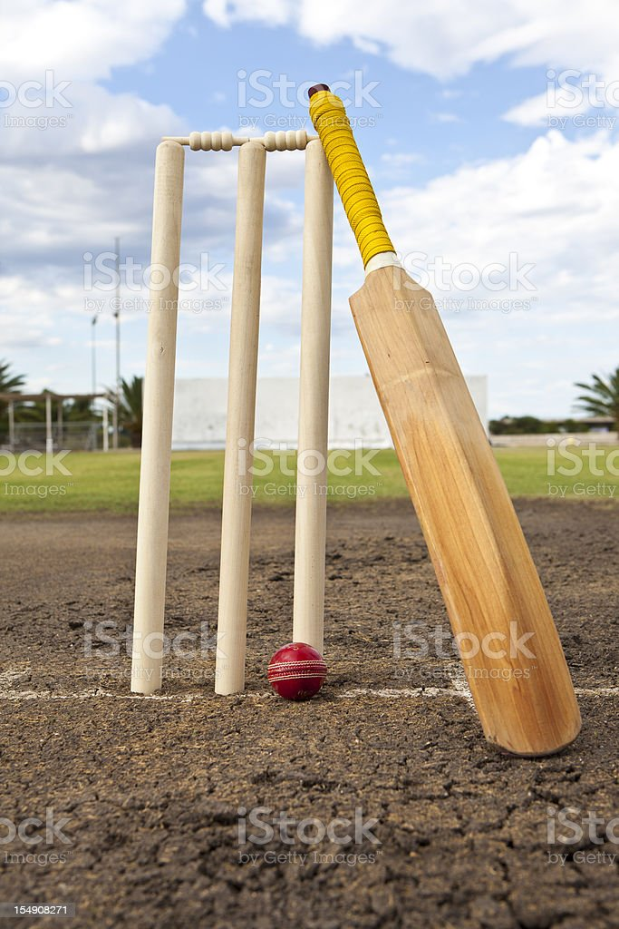 Cricket wickets,ball and bat stock photo