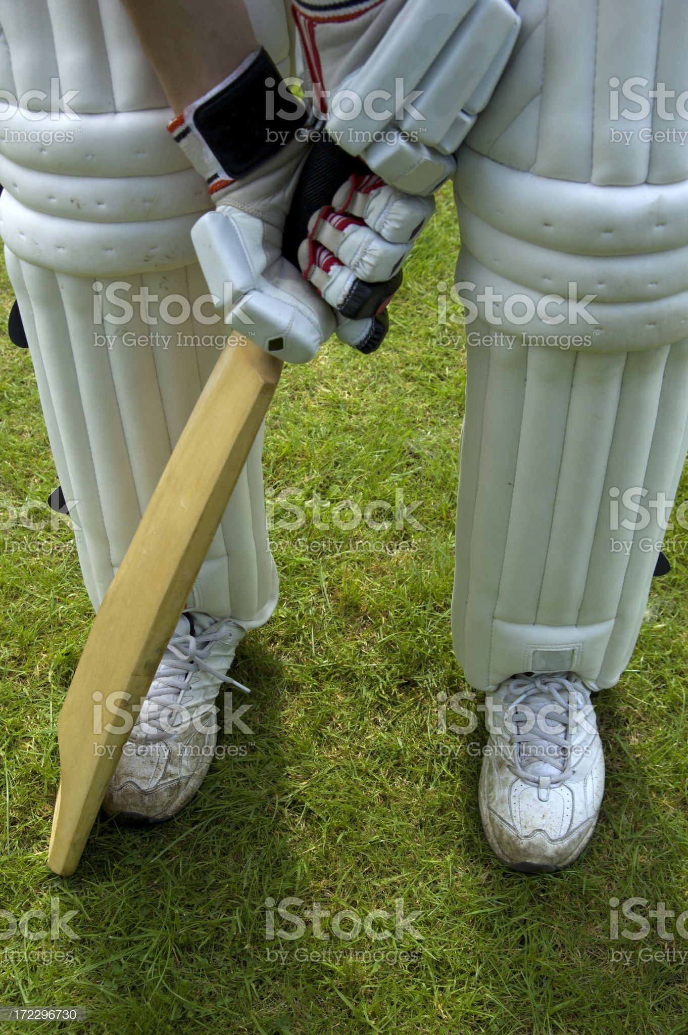 Cricketer's stance royalty-free stock photo