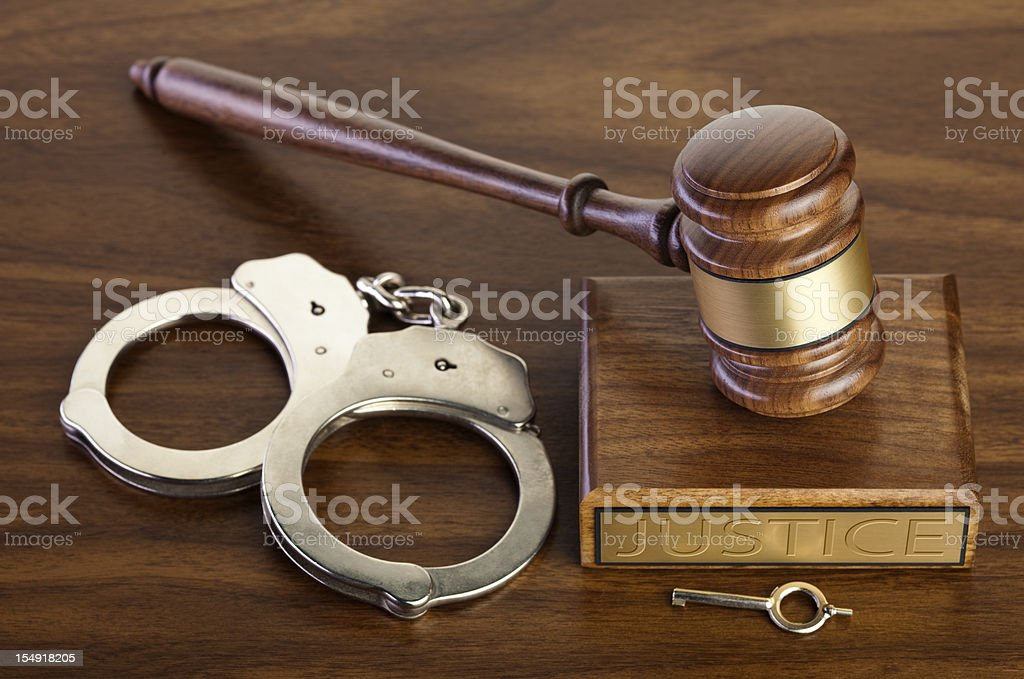 Crime and Punishment; Gavel With Handcuffs, Key royalty-free stock photo