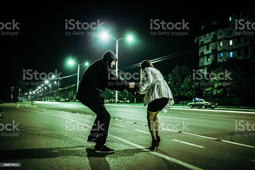 Crime in motion stock photo