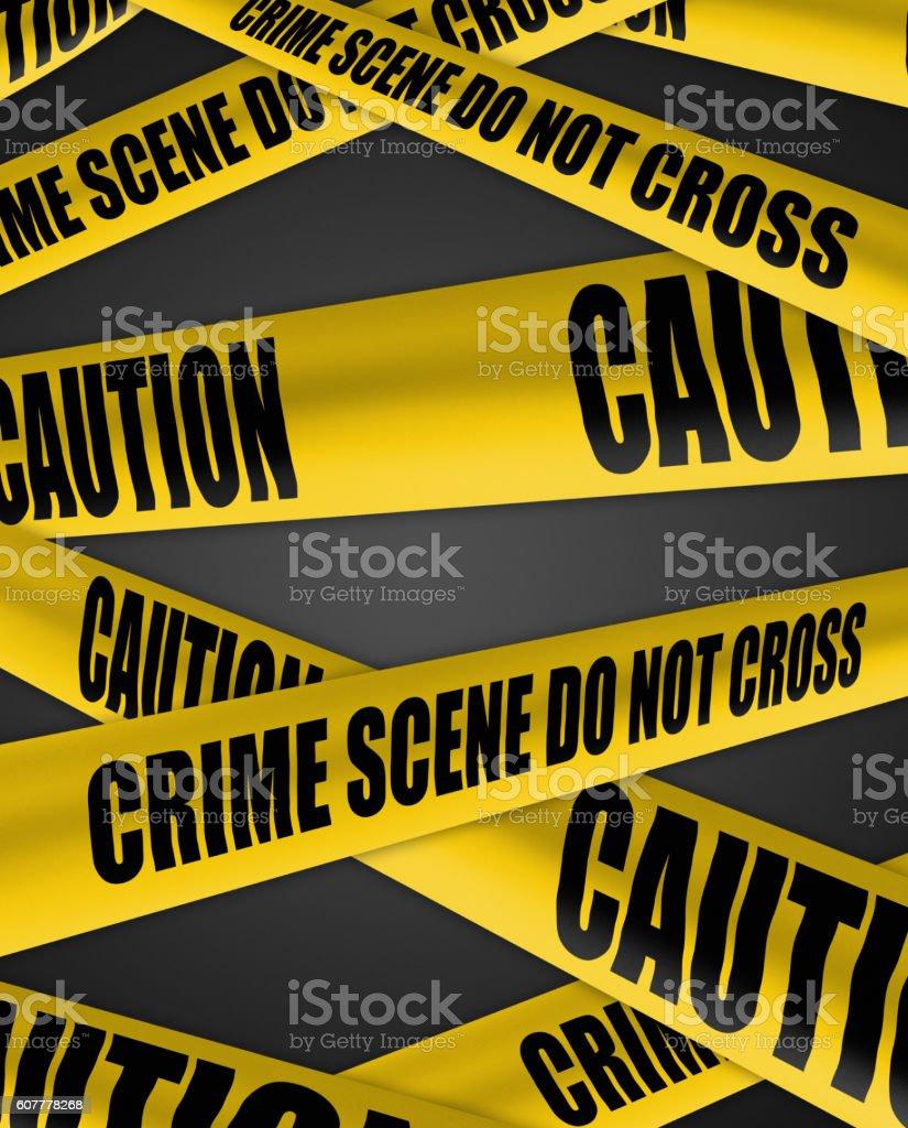 crime scene and caution cordon tape stock photo
