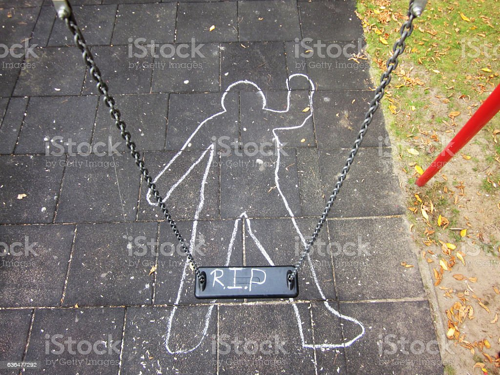 crime scene chalk outline stock photo